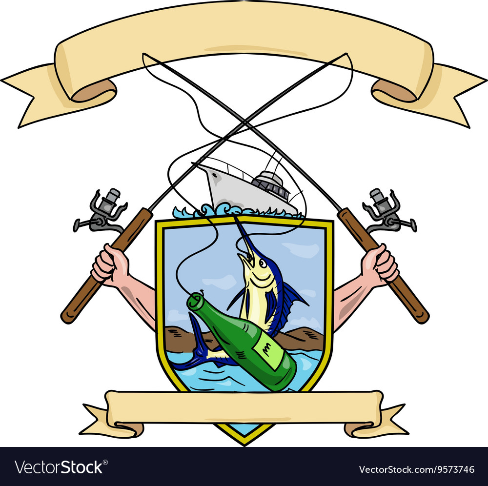 Fishing Rod Reel Blue Marlin Fish Beer Bottle Coat vector image