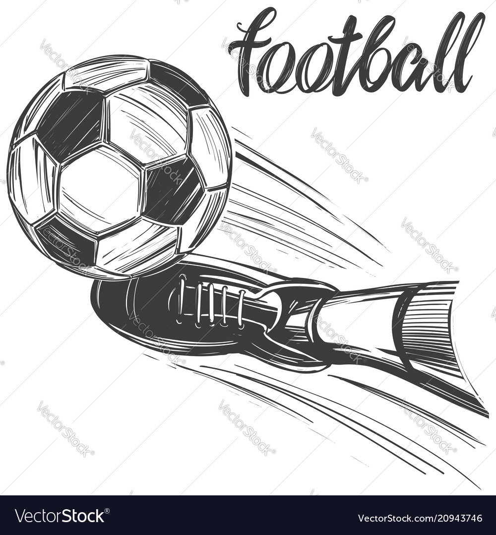 Football soccer ball sports game calligraphic