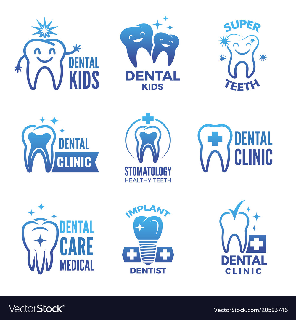 Labels and logos set of dental theme and vector image