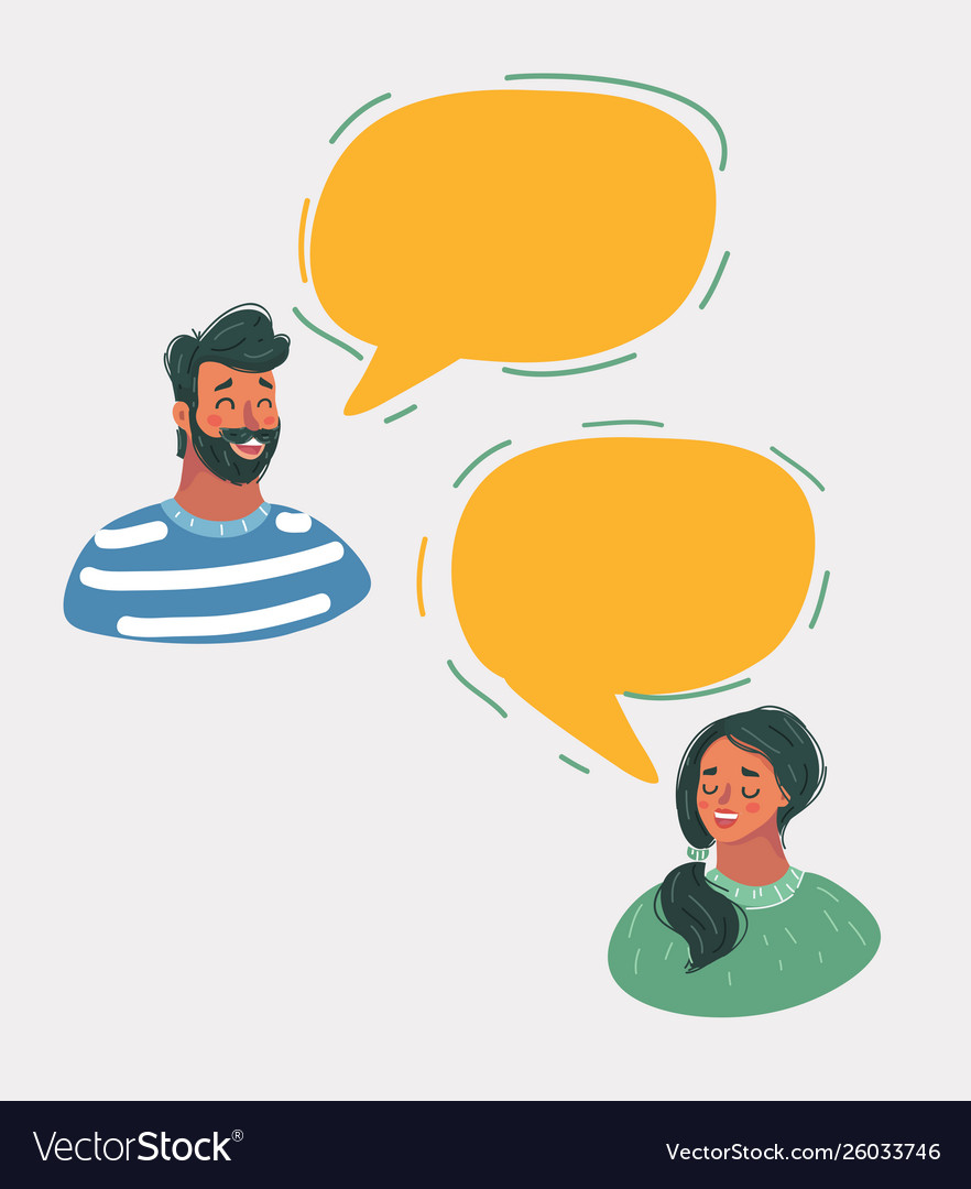 Man and woman chatting in speech bubbles