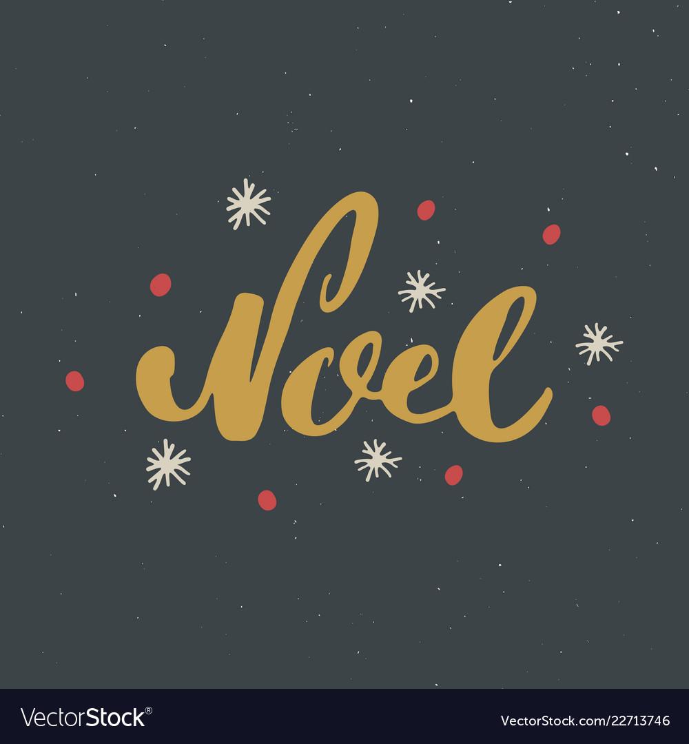 Merry christmas calligraphic lettering noel