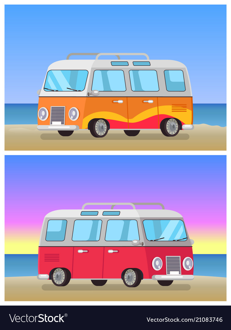 Retro trailer travelling bus on coastline backdrop