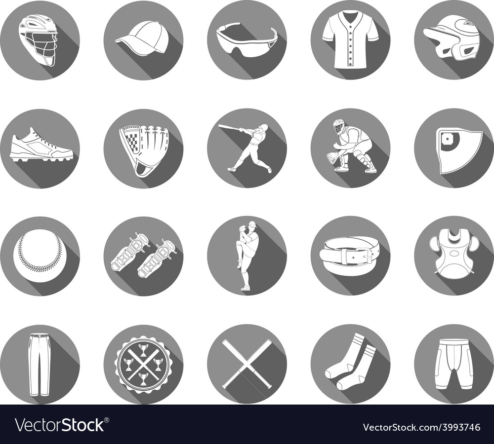 Set of icons of baseball in style flat design vector image
