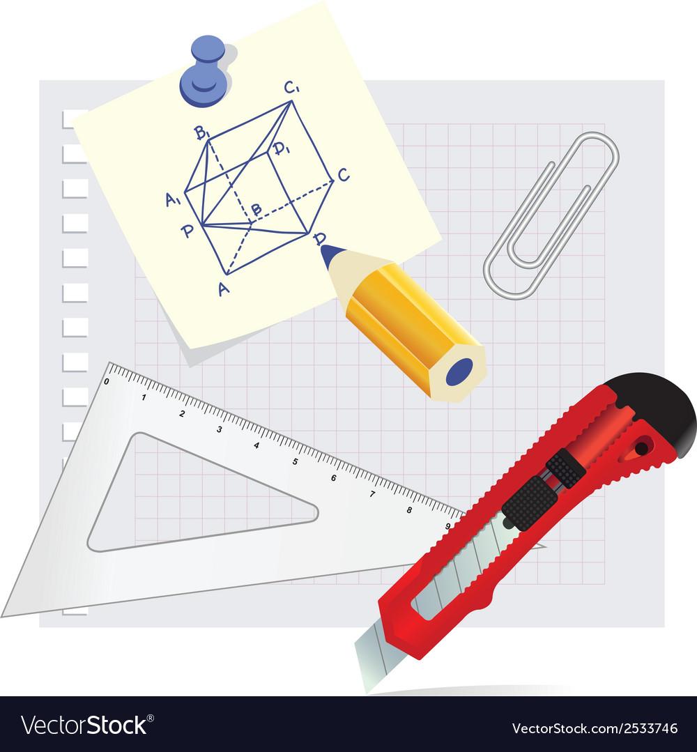 Set school supplies on the white background vector image