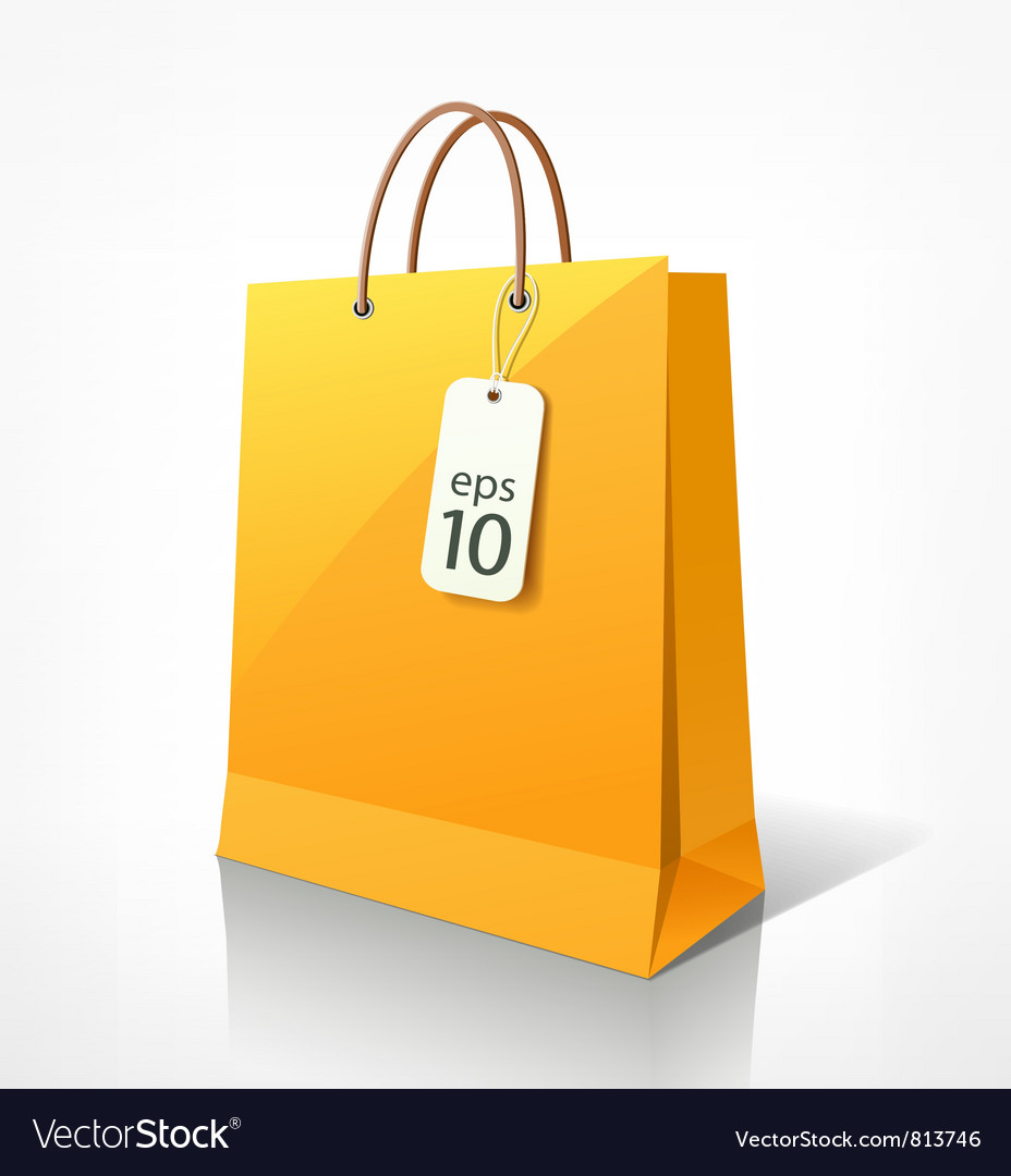 Shopping yellow bag vector image