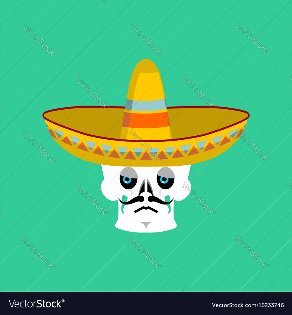 Skull in sombrero sad emoji mexican skeleton for