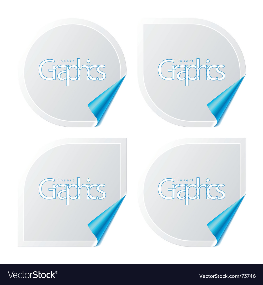 Stickers with turned corner vector image