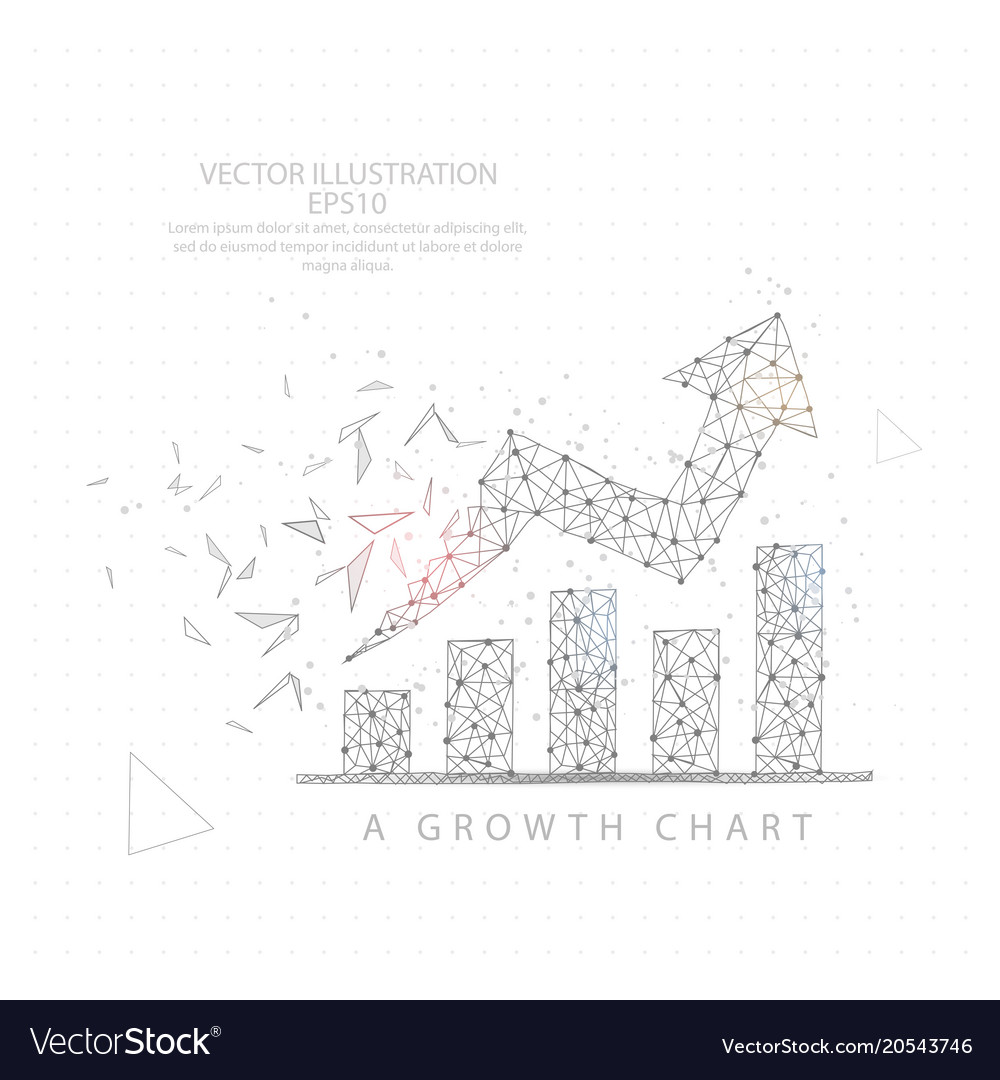 Up arrow graph chart wire frame low poly Vector Image