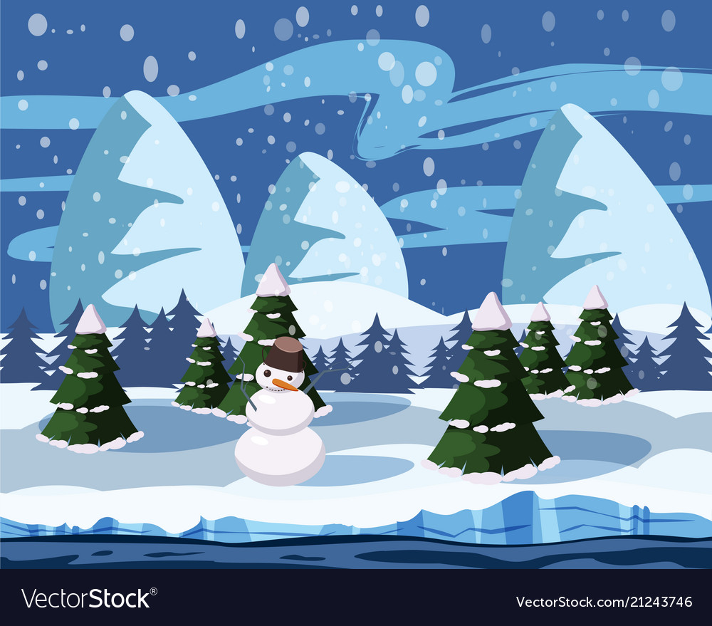 Winter Cute Landscape Snowman Christmas Trees In Vector Image
