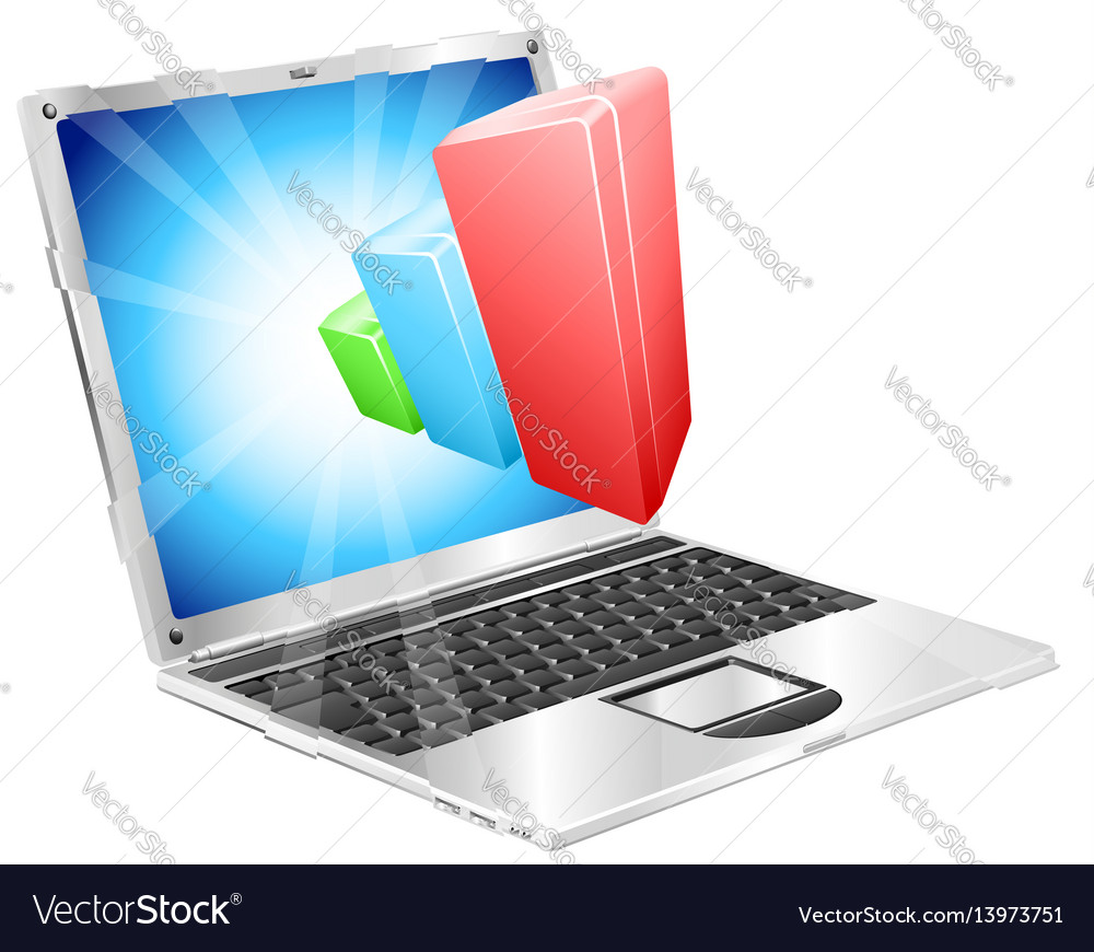 Bar chart graph laptop concept vector image