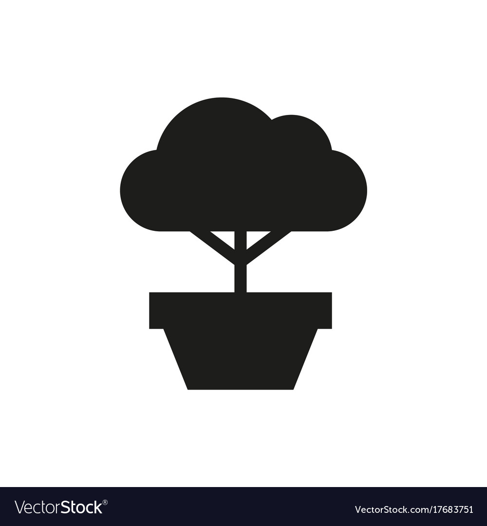 Bonsai Tree Icon On White Background Royalty Free Vector