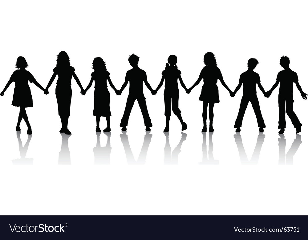 Children holding hands vector image