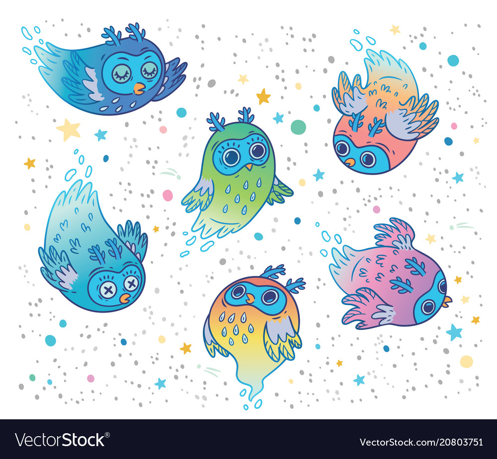 Cute colorful ghost owls set children