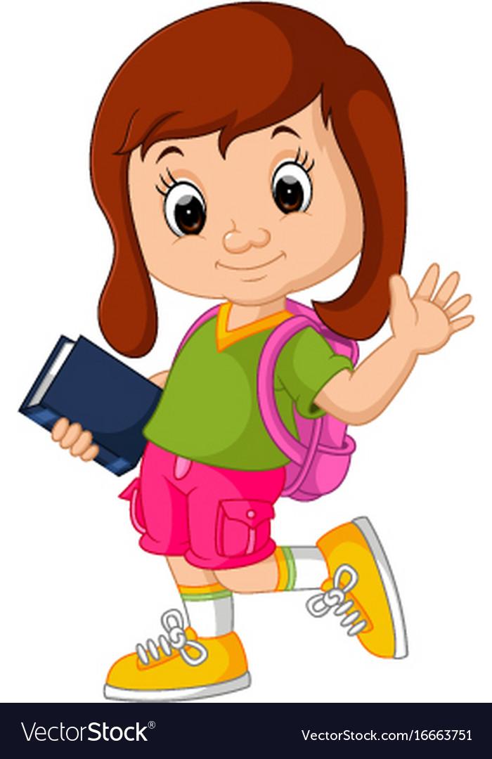 Cute Girl Go To School Cartoon Royalty Free Vector Image-9184