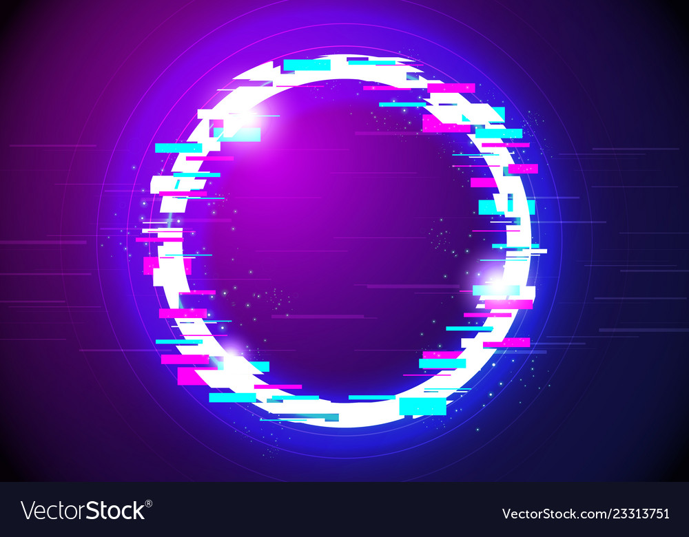 Distorted glitched glow circle frame background