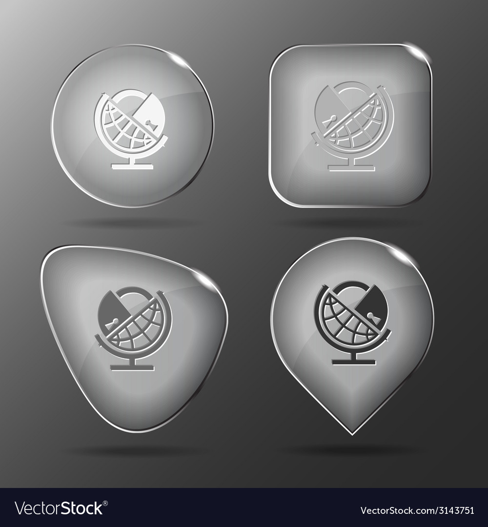 Globe and lock Glass buttons vector image
