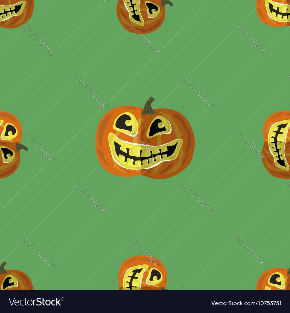 Halloween Smiling Pumpkin Seamless Pattern