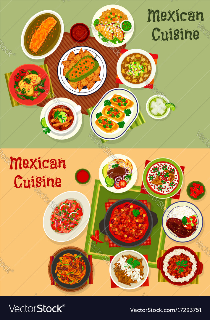 Mexican Cuisine Dishes Dinner Set Royalty Free Vector Image