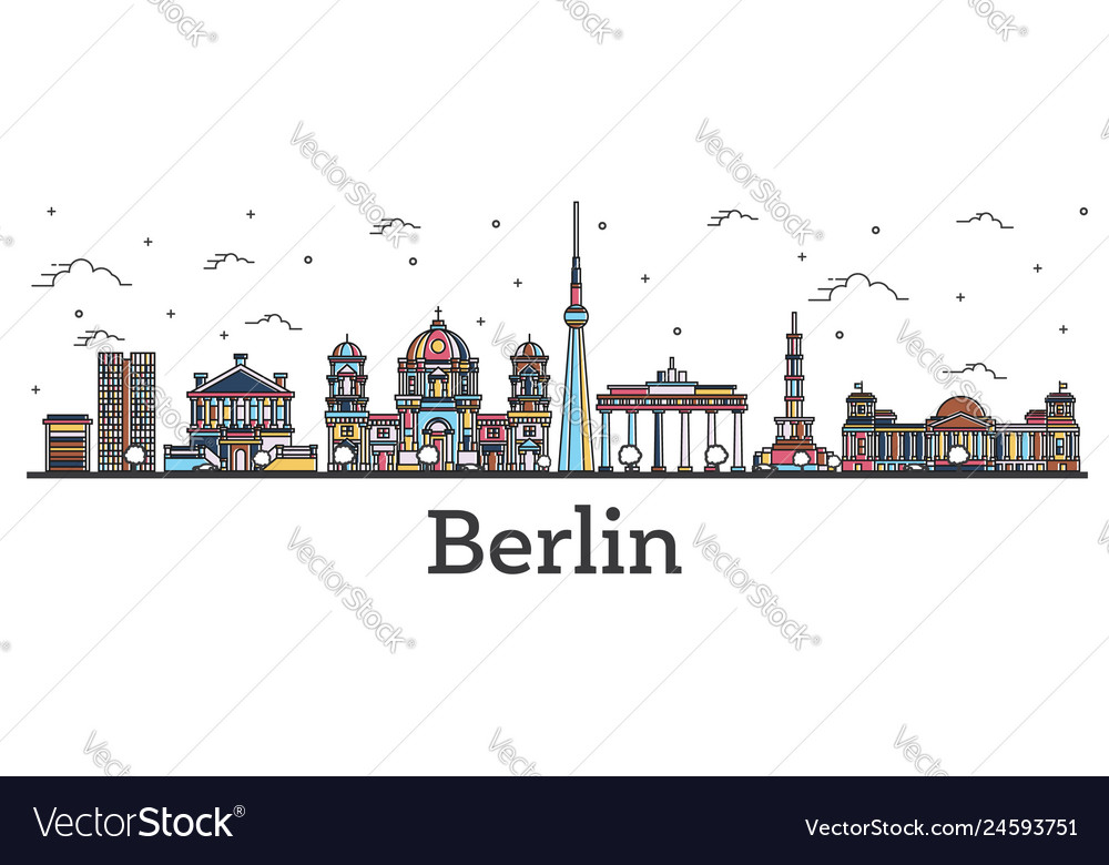 Outline berlin germany city skyline with color