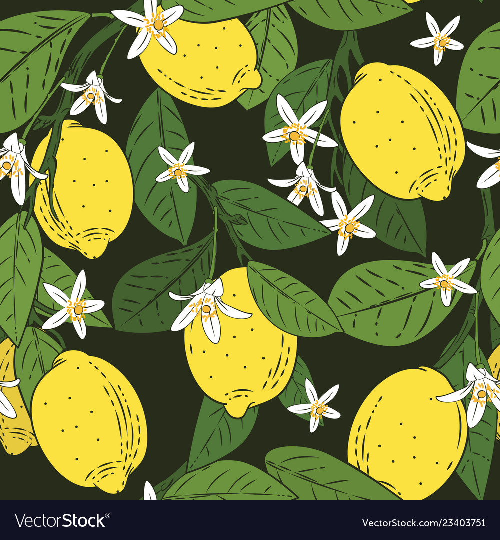 Seamless pattern branches with lemons green