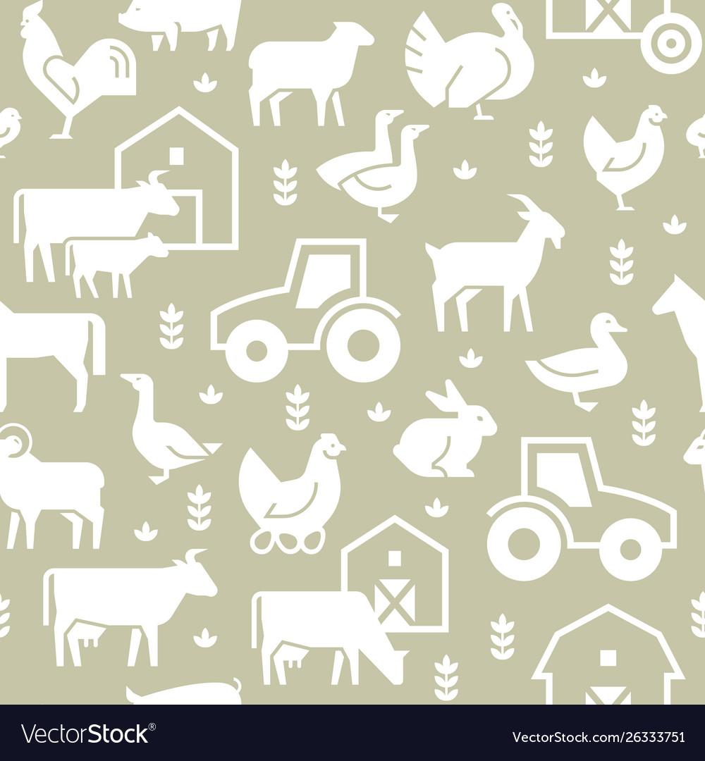Seamless pattern farm animals buildings