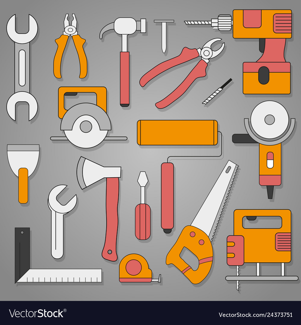Set of hand tools on a gray background with shadow