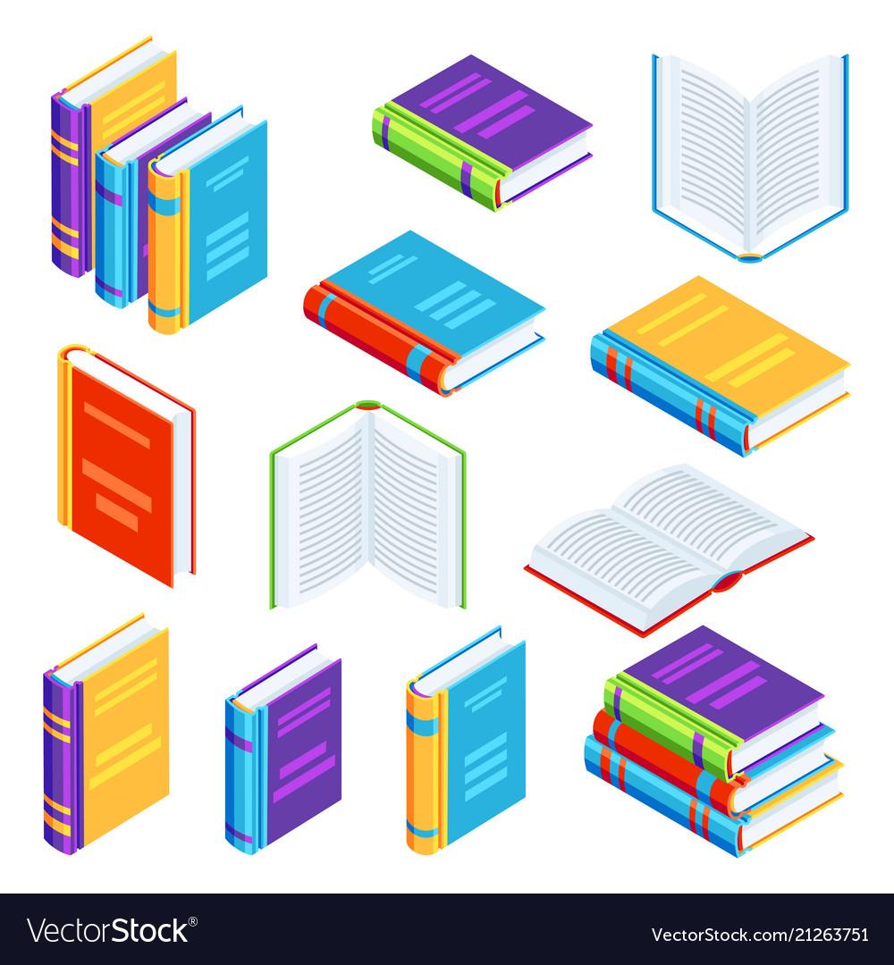 Set of isometric book icons