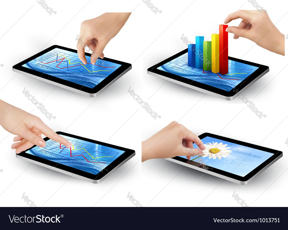 Set of tablet screen with graph and a hand