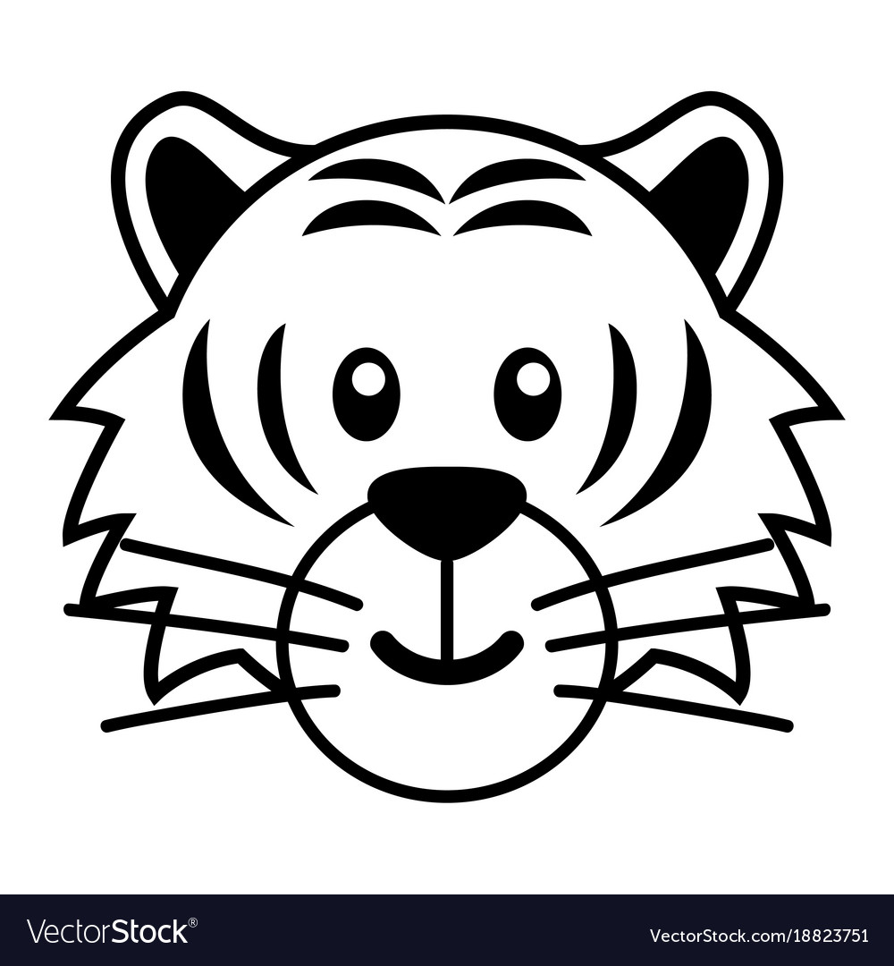 Simple cartoon of a cute tiger