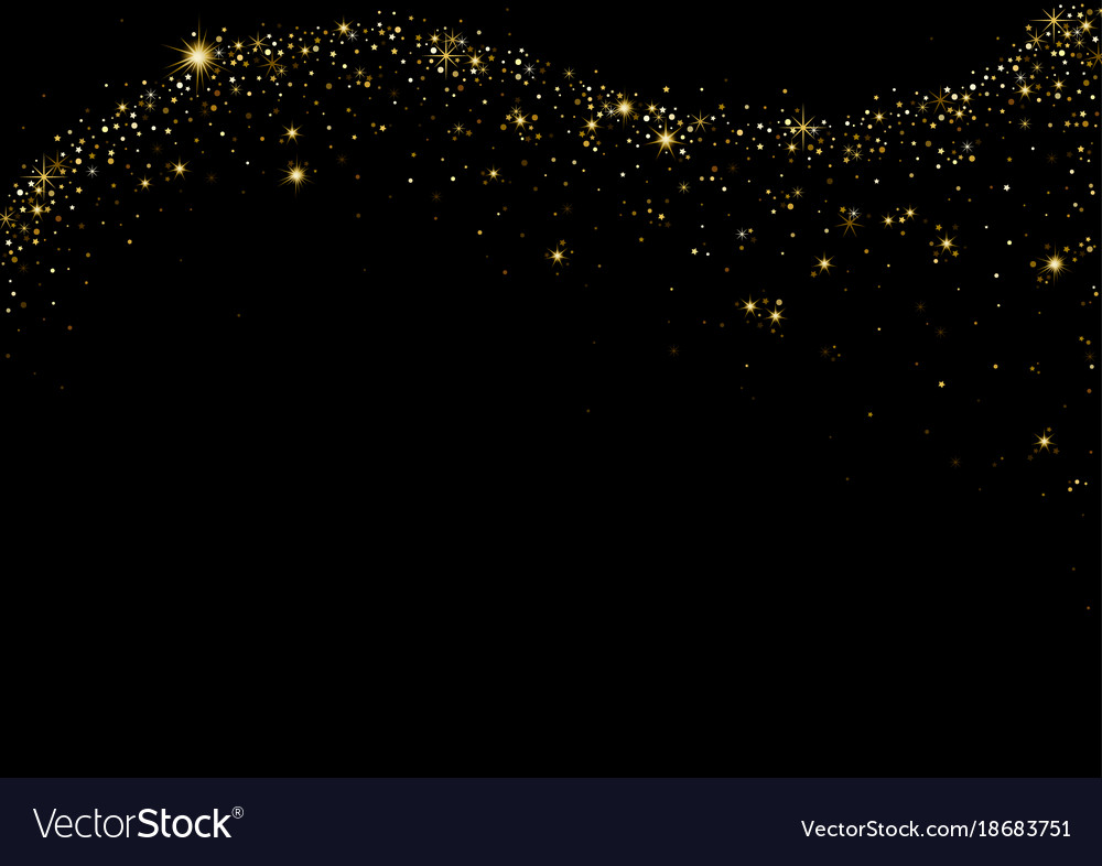Starry wave on black background vector image
