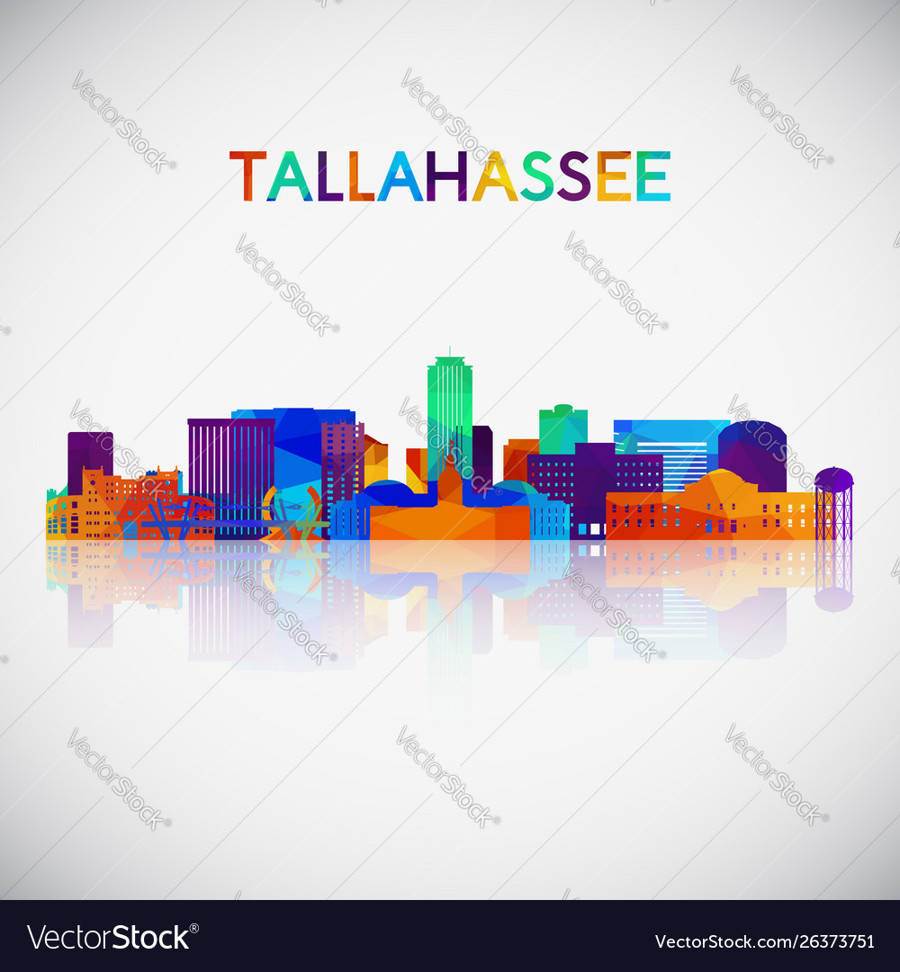 Tallahassee skyline silhouette in colorful