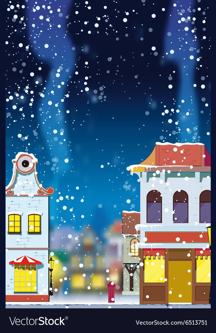 Winter in little european town