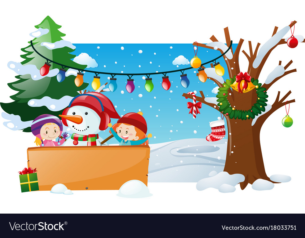 Winter scene with kids and snowman vector image