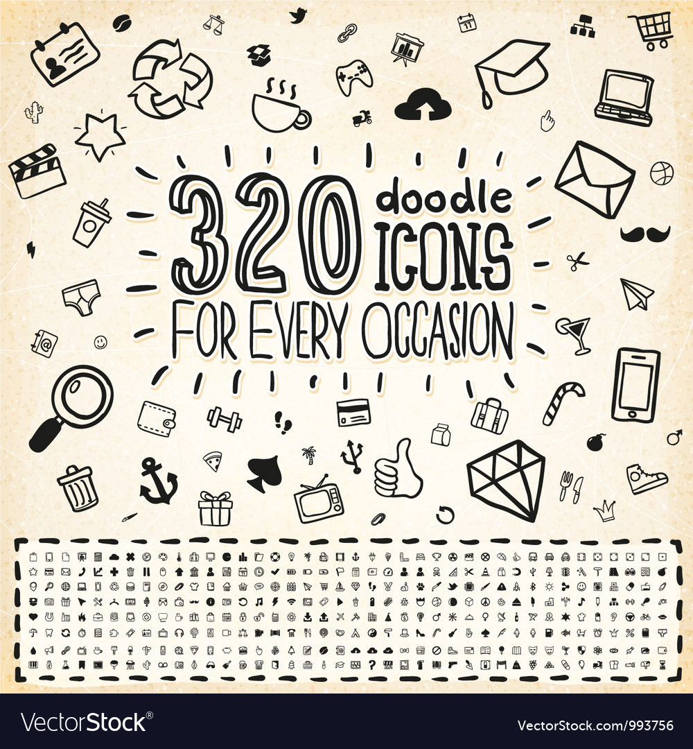 320 doodle icons universal set
