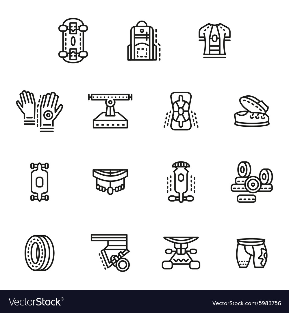 Accessories for longboards line icons set