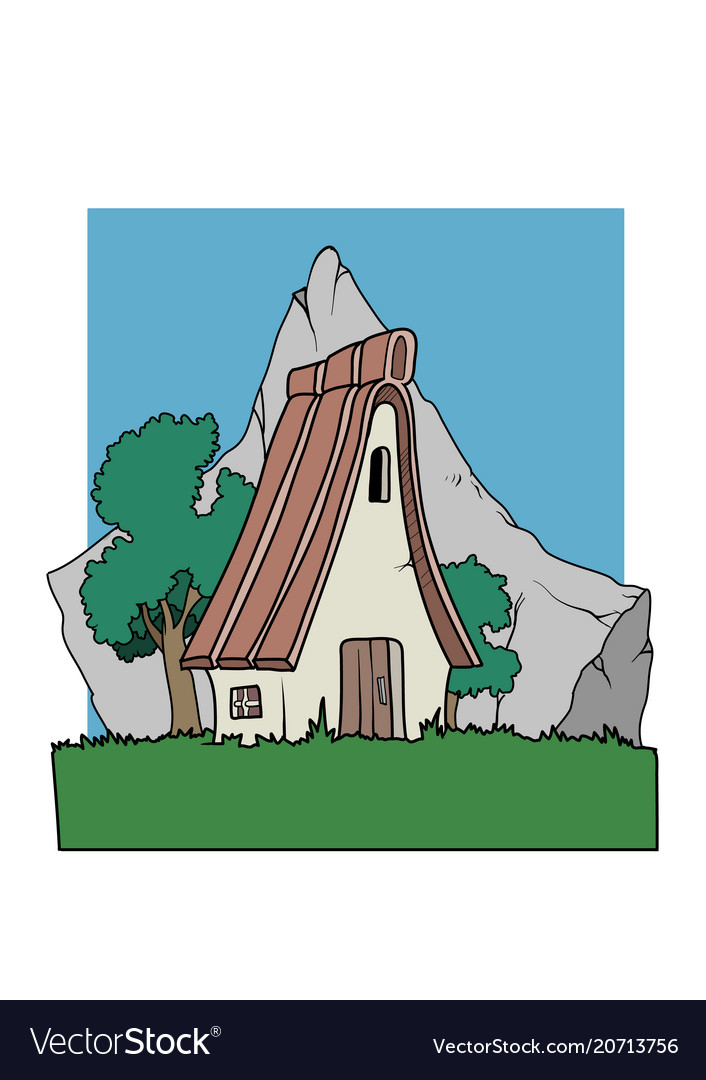 An alpine country house in front of a mountain
