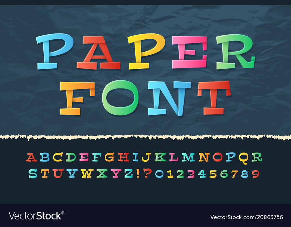 Color paper alphabet funny cartoon holiday font