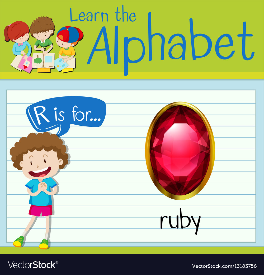 Flashcard letter R is for ruby