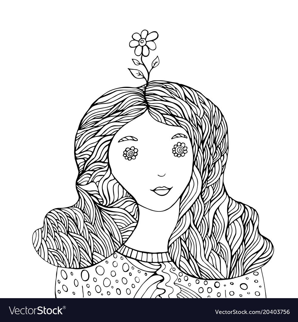 Flower girl fantasy coloring book