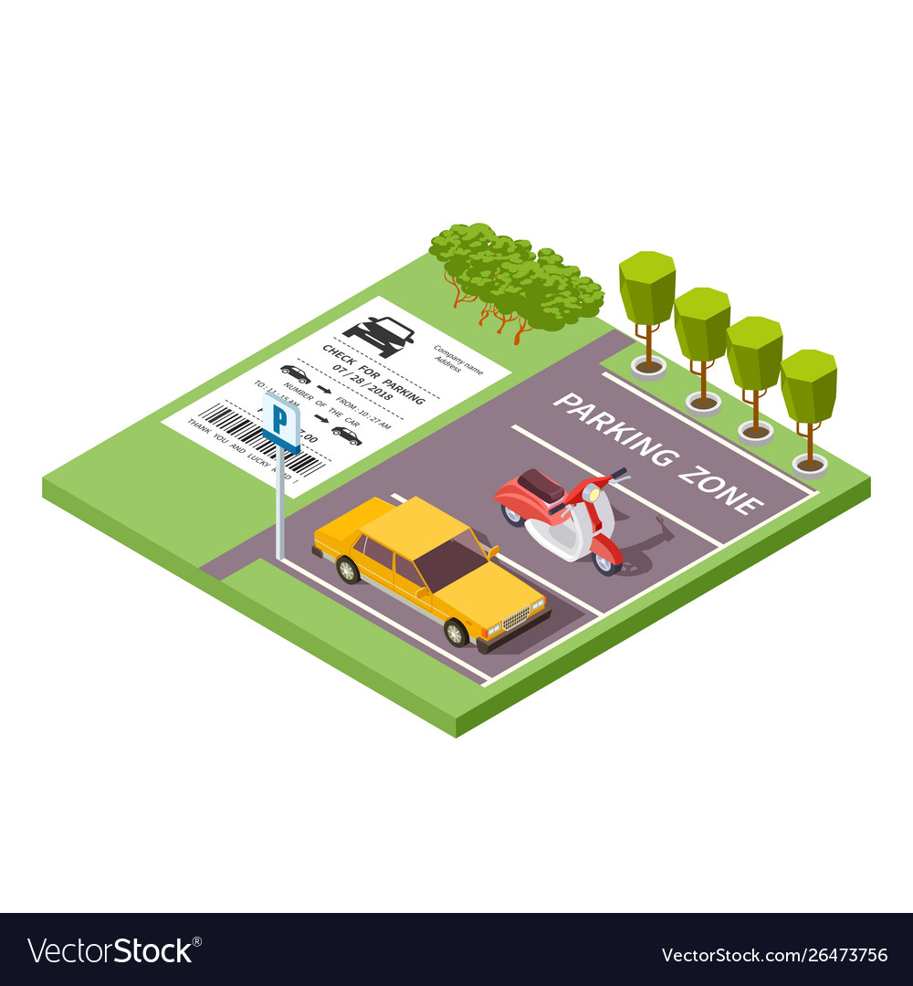 Isometric car parking zone 3d