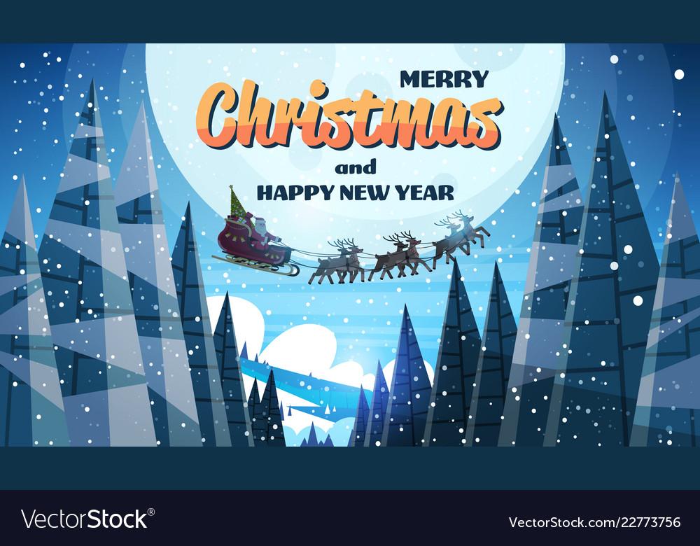 Santa claus flying in sledge with reindeers night