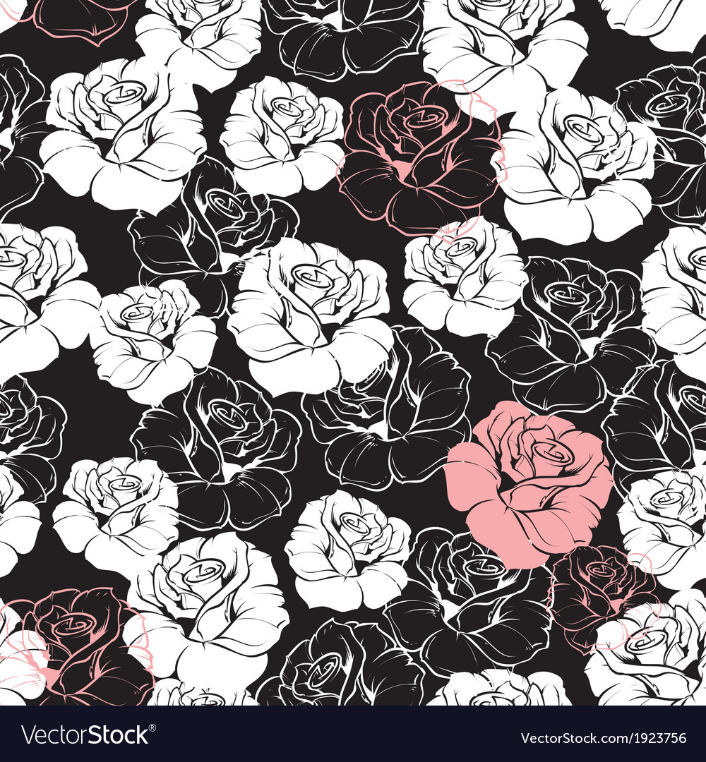 Seamless Dark Floral Pattern With White Roses Vector Image