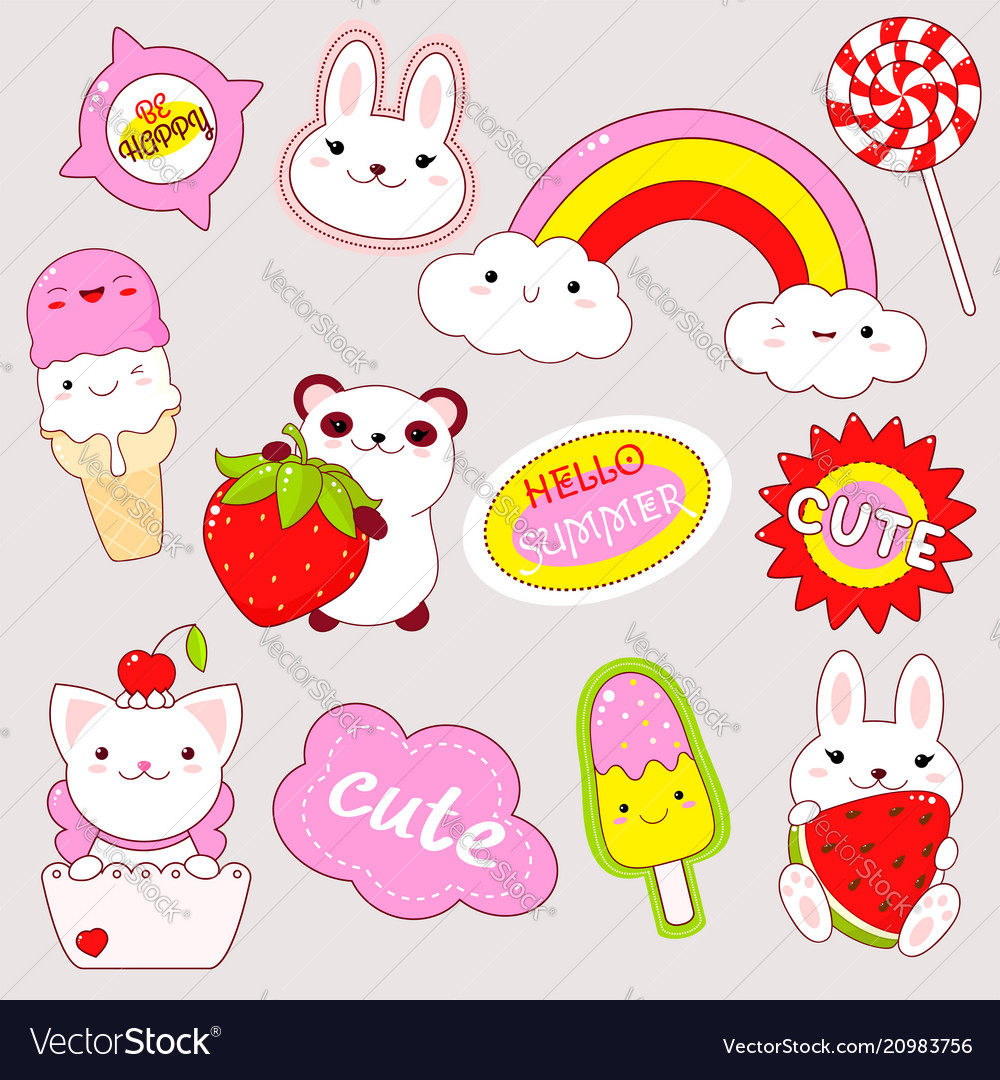 Set Cute Stickers In Kawaii Style Royalty Free Vector Image