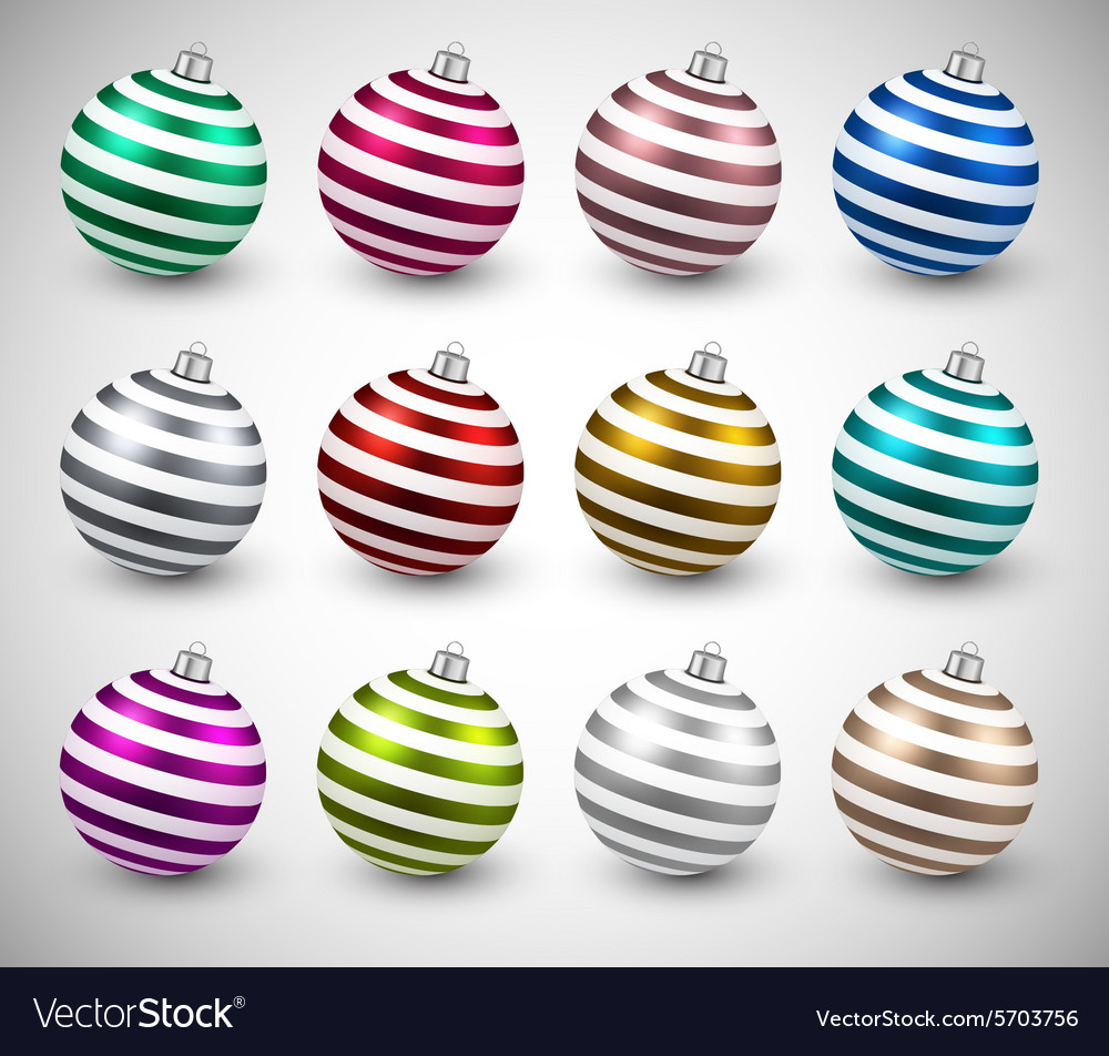 Set of realistic color christmas balls