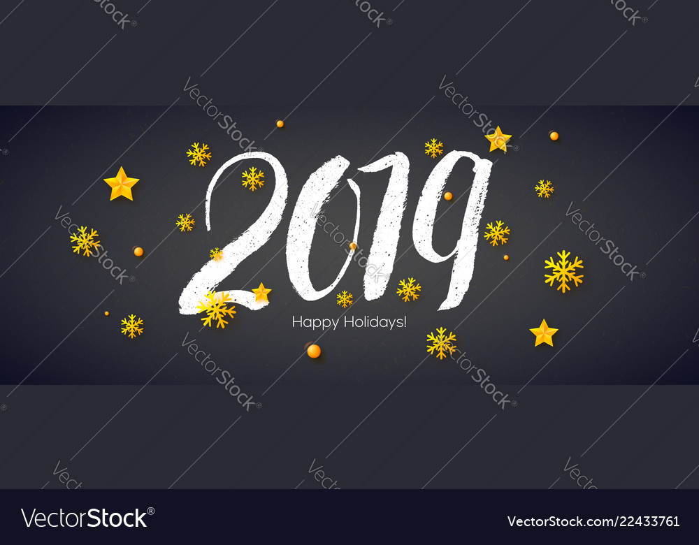 2019 hand written lettering with stars and