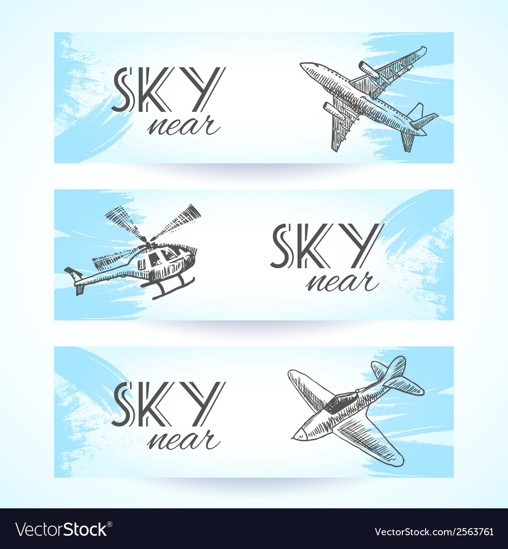 Aircraft icons banners sketch