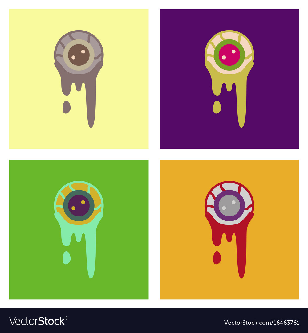 Assembly flat icons halloween zombie eyes