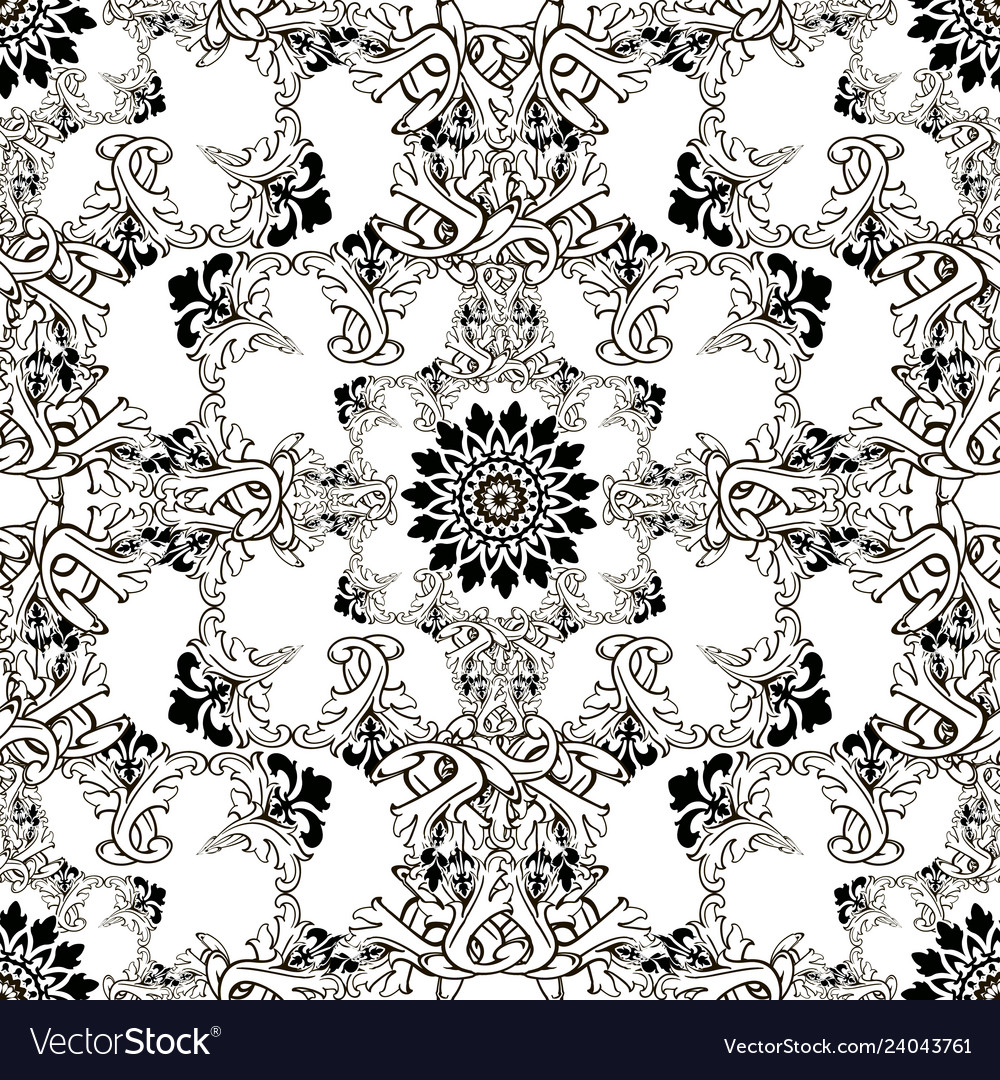 Baroque black and white ornamental seamless