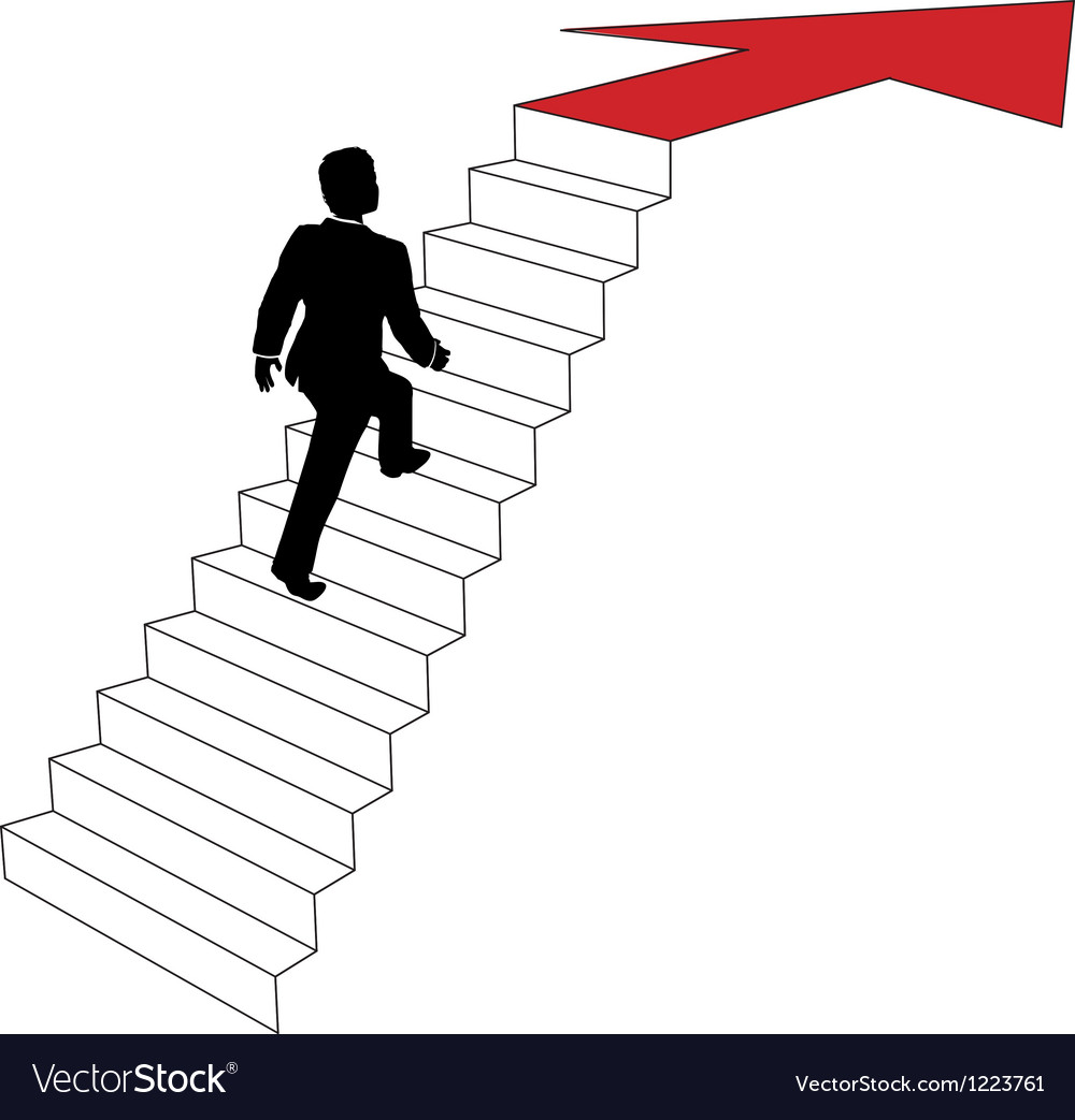 Business man climbs up arrow stairs Royalty Free Vector