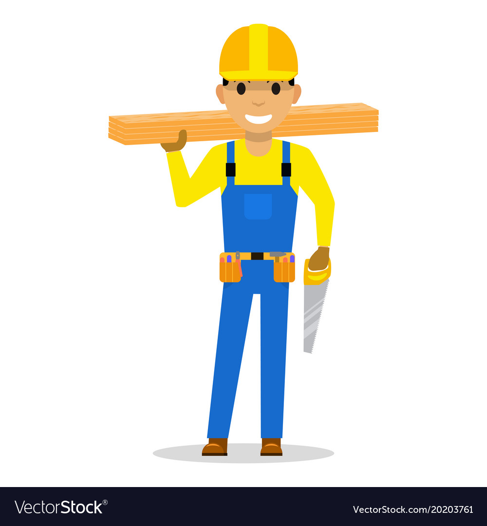Carpenter with wooden boards and a saw
